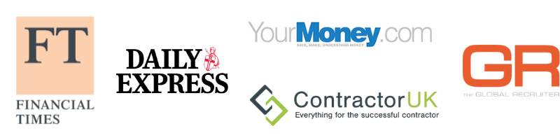 Optionis Coverage Logos - FT, Daily Express, Global Recruiter, Contractor UK and YourMoney.com