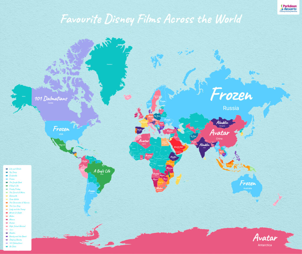 World map showing favourite Disney films by country - created by Park Dean Resorts