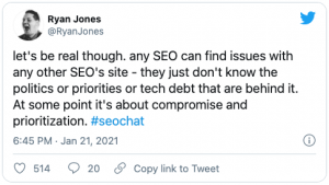 Ryan Jones tweet about the SEO industry