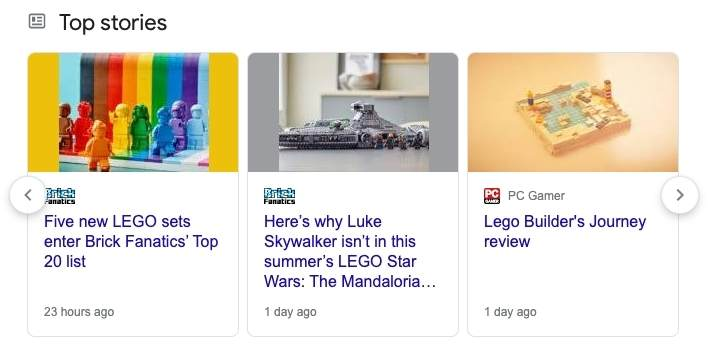 """Lego shows in """"Top Stories"""" on search results"""